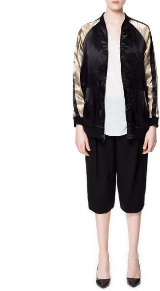 Zara embroidered bomber jacket in gold black lyst