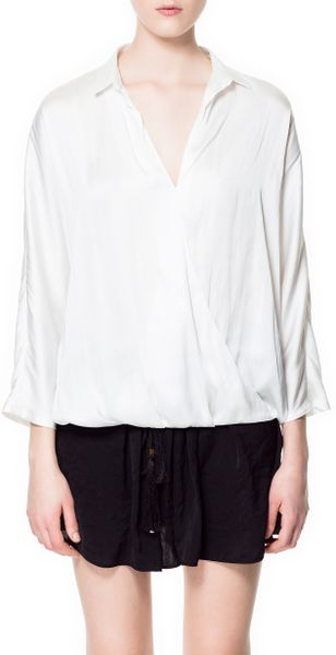 Zara White Crossover Blouse 84