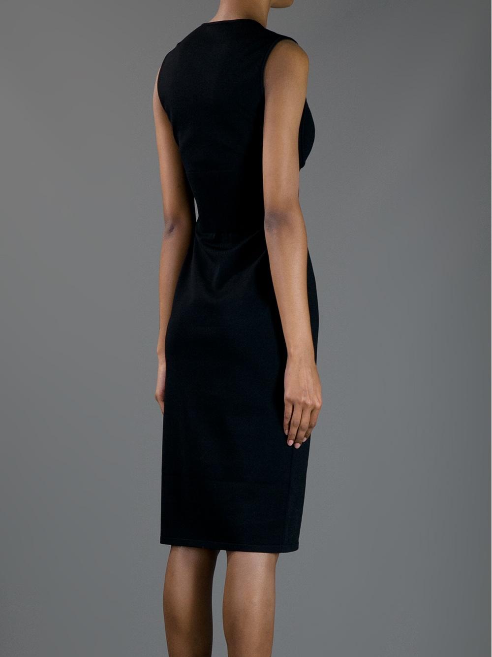 Alexander Mcqueen Fitted Midi Dress In Black Lyst