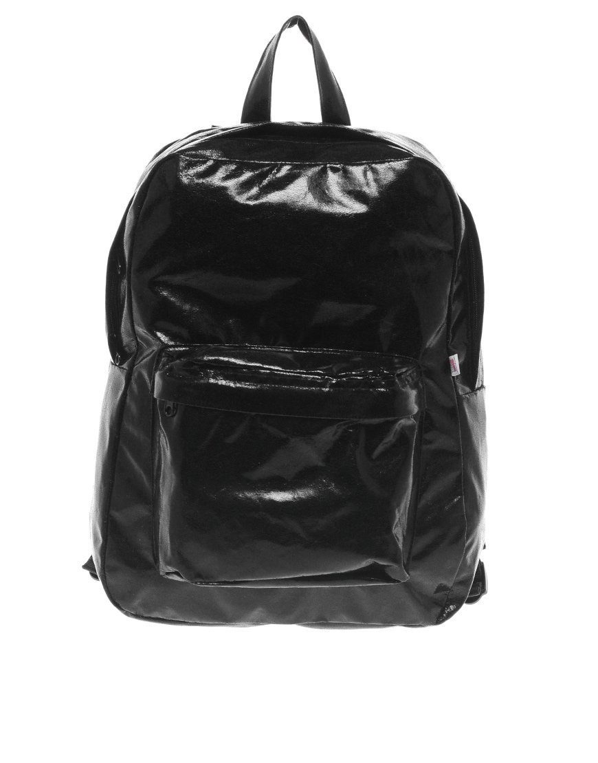 American Apparel Shiny Nylon Backpack In Black Lyst