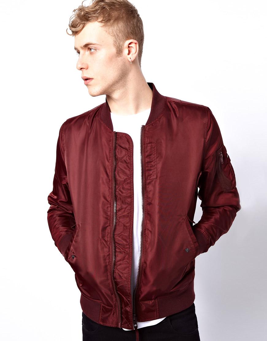 Lyst Asos Bomber Jacket In Red For Men
