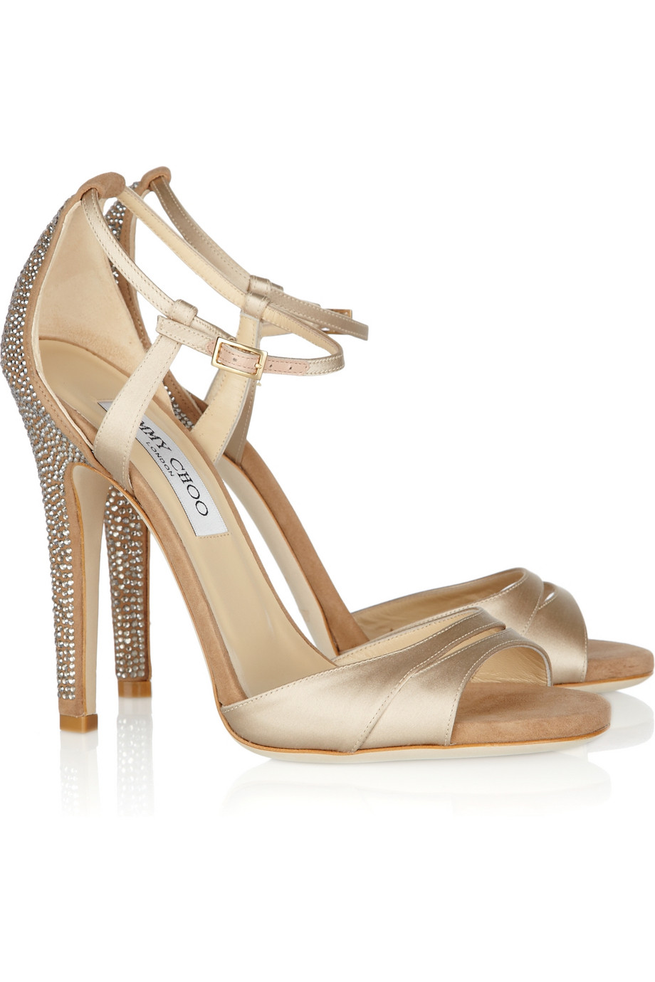 1b79b608e401 Lyst - Jimmy Choo Tema Crystal-embellished Satin and Suede Sandals ...