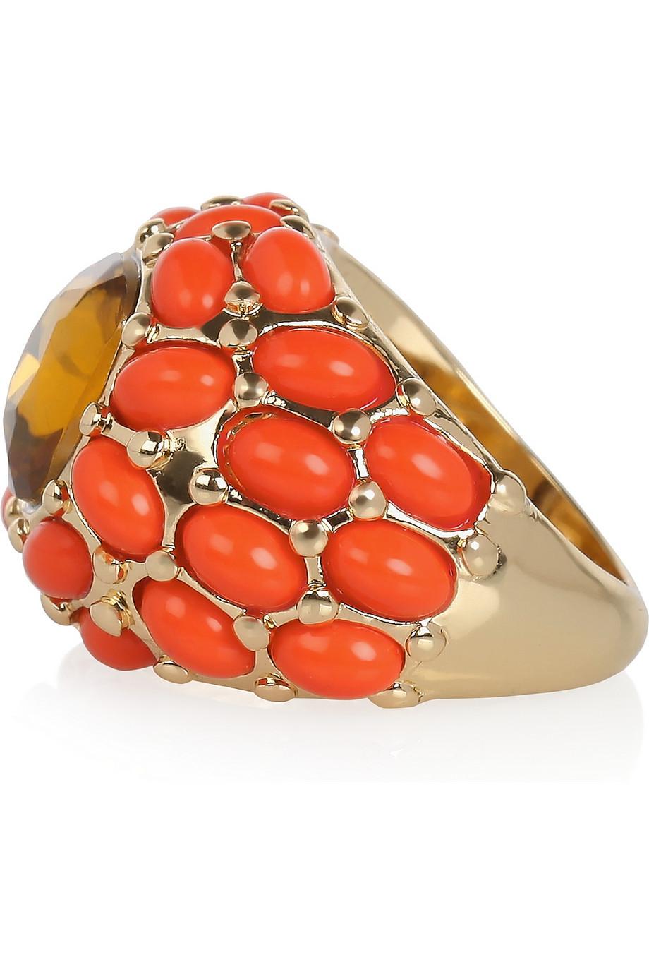 Kenneth Jay Lane Plated Cubic Zirconia Ring in Pastel Orange (Orange)
