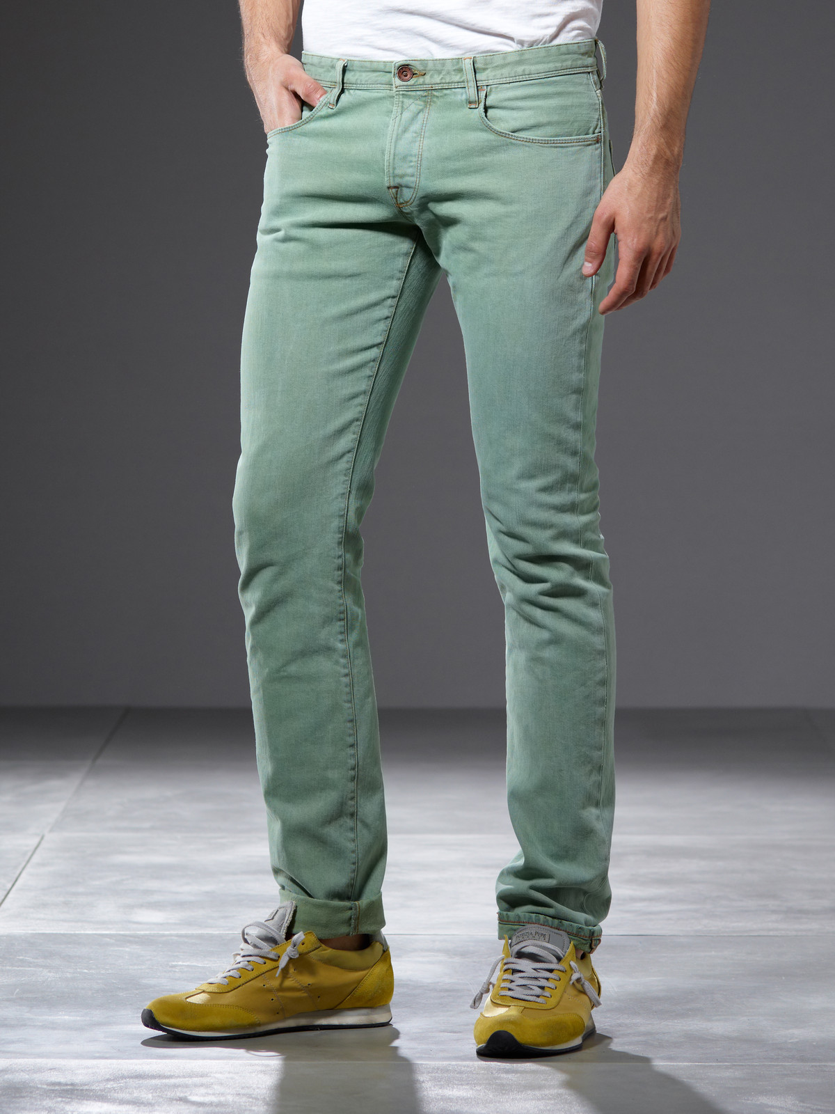 Mens Green Denim Jeans - Xtellar Jeans