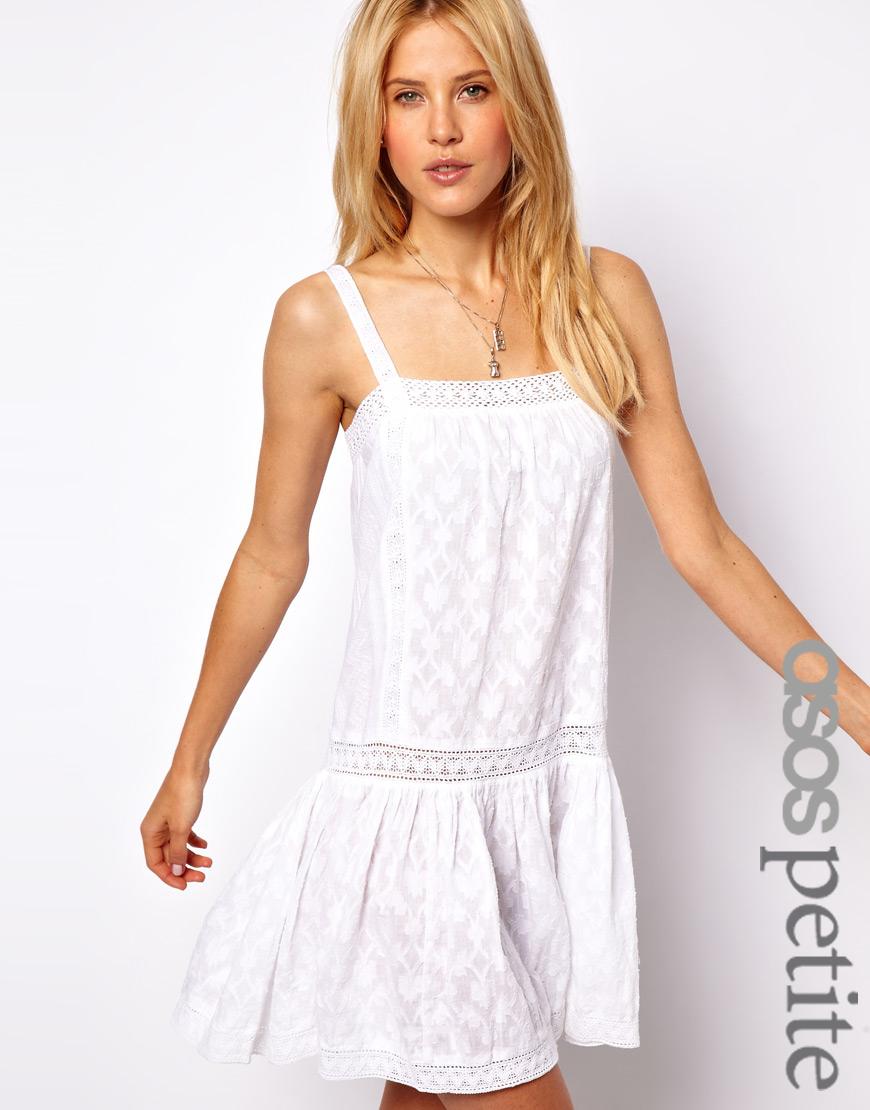 Lyst - Asos Lace Insert Cotton Drop Waist Dress in White