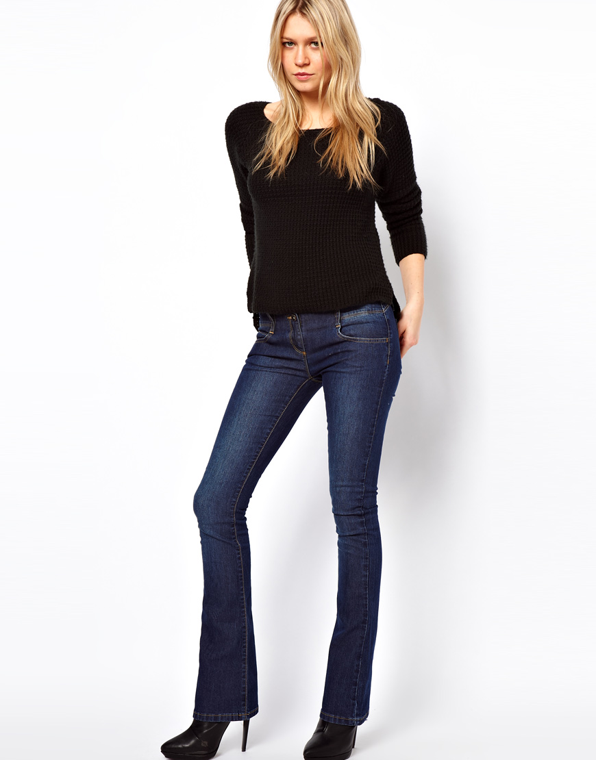 Asos Asos Super Sexy Flare Jeans in Vintage Wash in Blue | Lyst