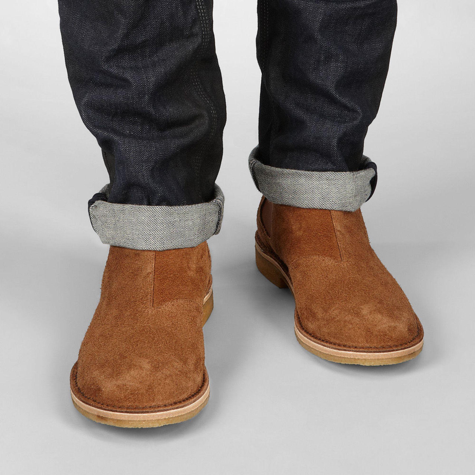 bottega veneta buffalo suede chelsea boots in brown for men junior lyst. Black Bedroom Furniture Sets. Home Design Ideas