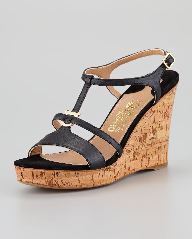 Lyst Ferragamo Savita Cork Wedge Sandal Black In Black