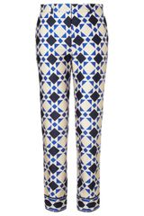 Mantu Blue Diamond Check Cotton Trousers