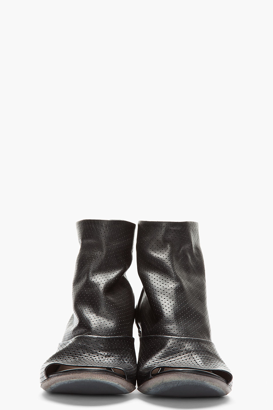 mars 232 ll black leather open toe perforated zip ankle boots