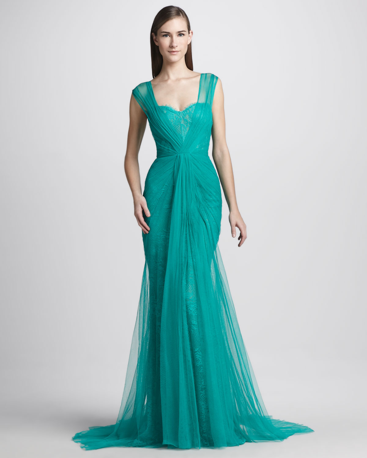 3579dc6bd15 Monique Lhuillier Sheer Lace Overlay Gown in Green - Lyst