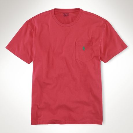 Polo ralph lauren classicfit pocket t shirt in red for men for Polo t shirts with pocket online