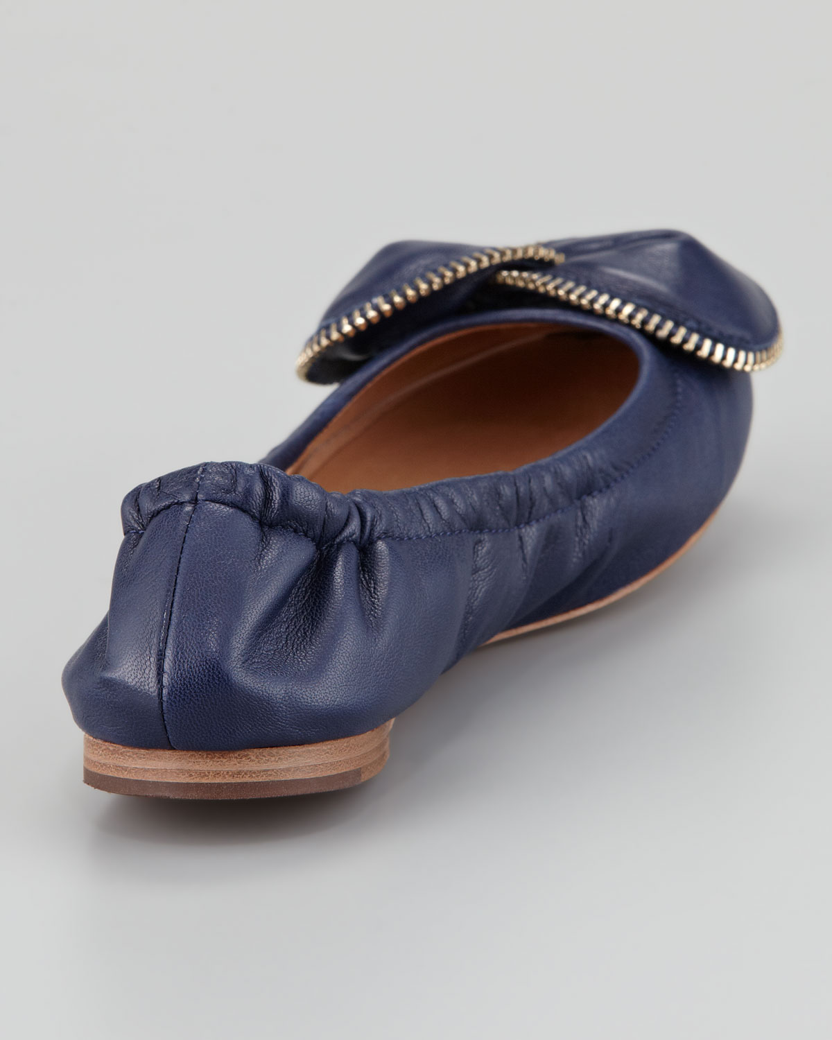 lyst see by chlo zipperbow scrunch ballerina flat navy. Black Bedroom Furniture Sets. Home Design Ideas
