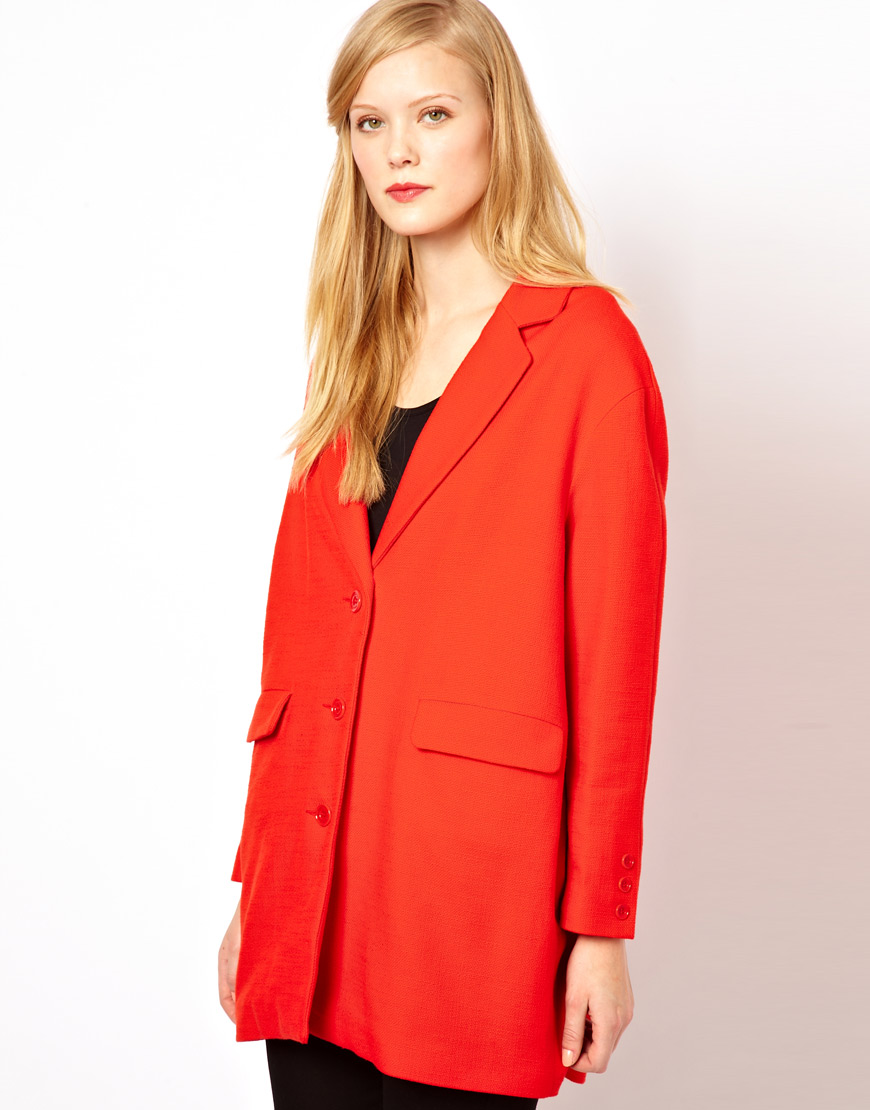 Sessun Car Coat in Bright Red in Orange | Lyst