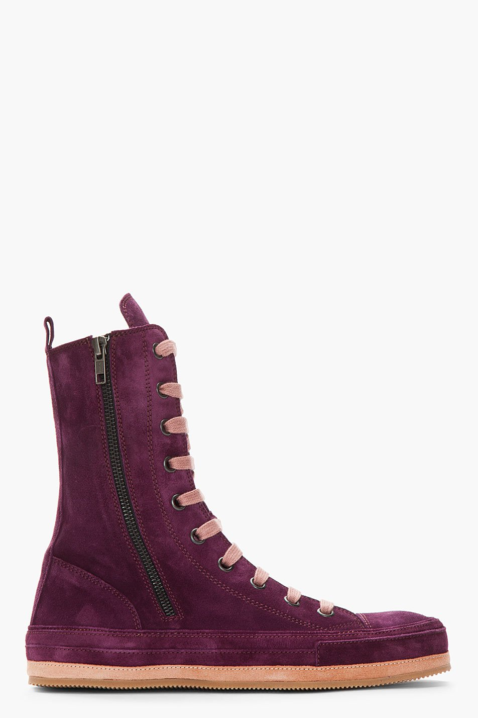 demeulemeester purple suede boots in purple for