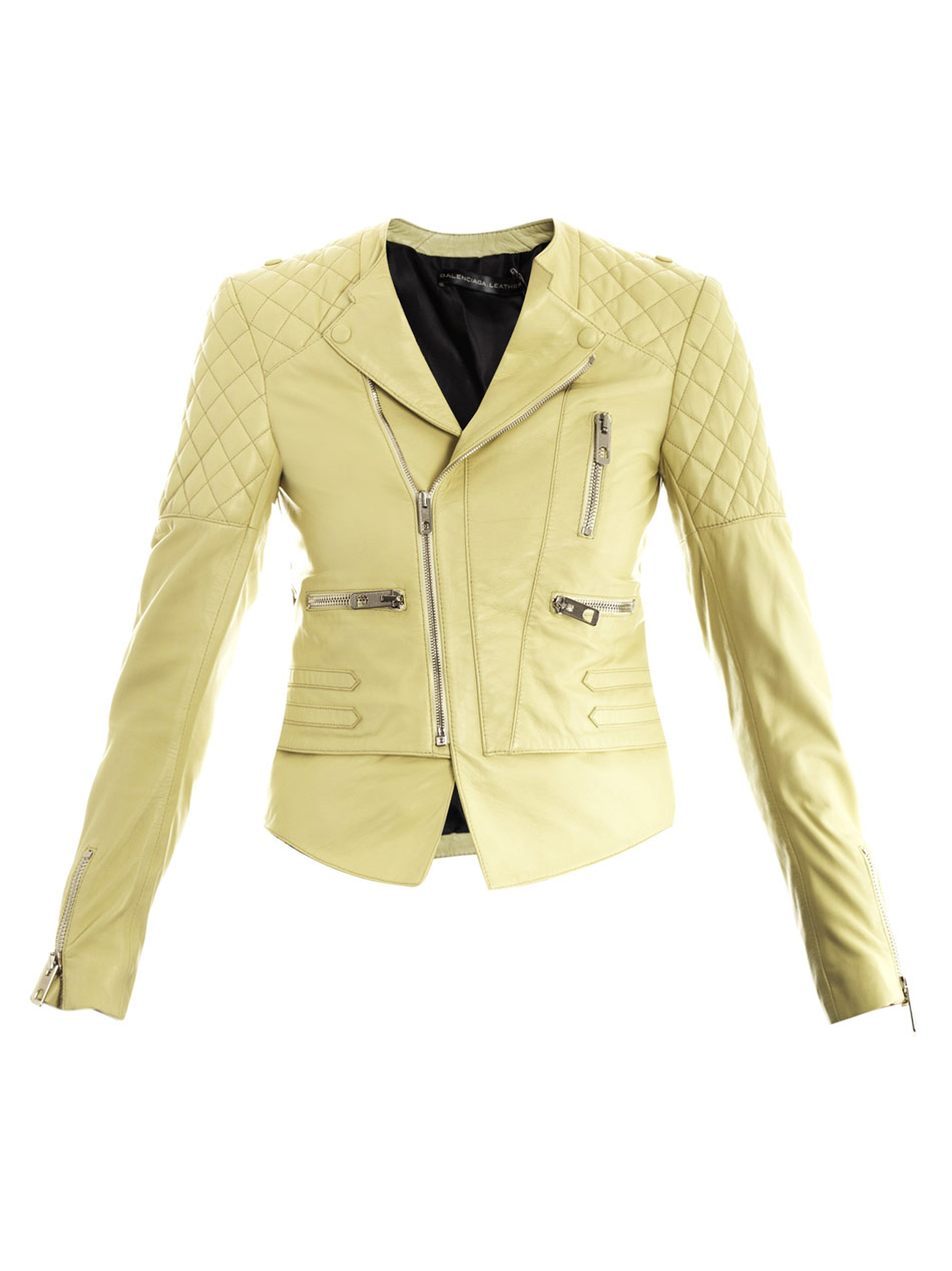 Balenciaga The New Quilted Leather Jacket In Beige Powder