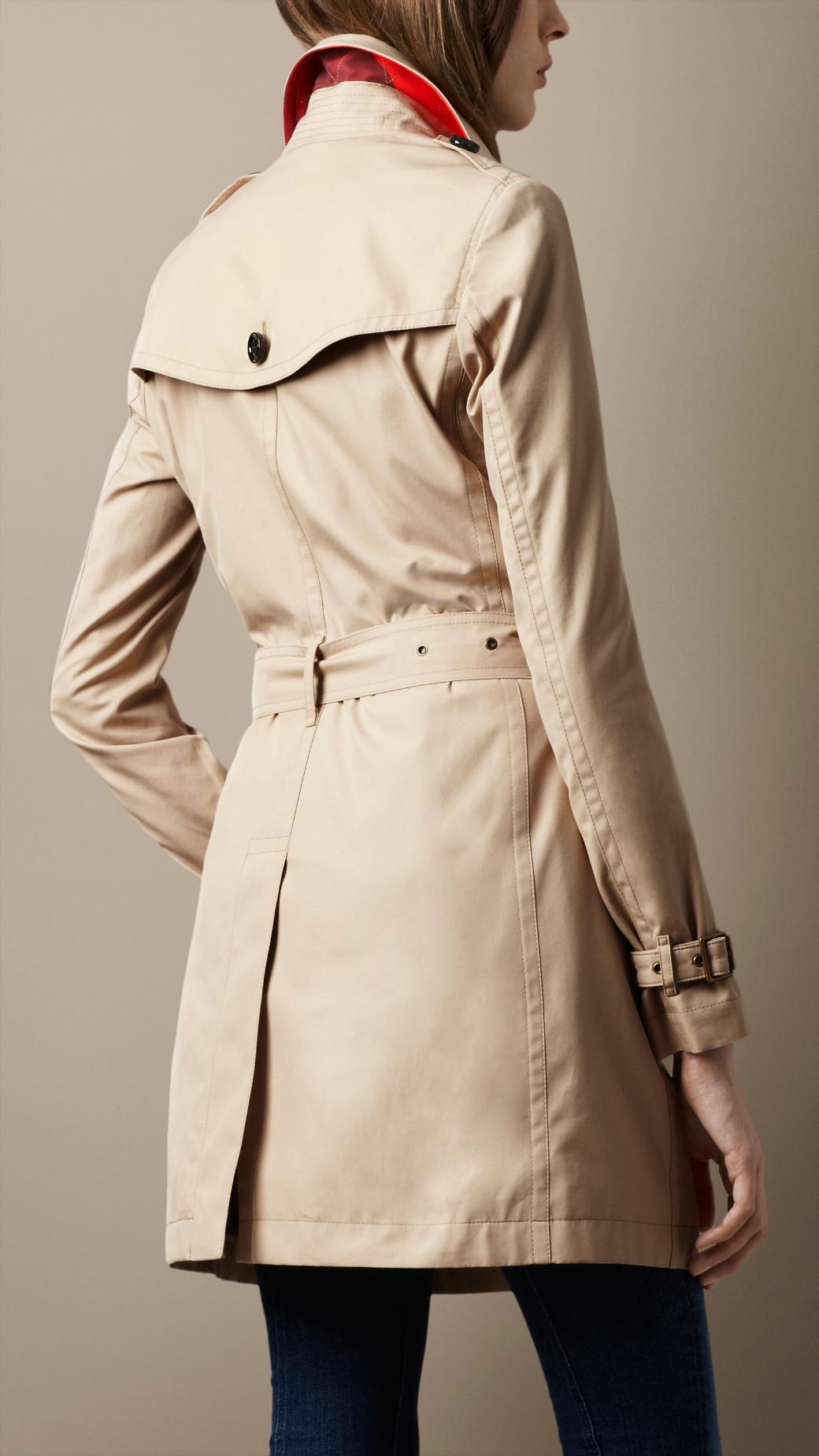 burberry brit midlength cotton poplin trench coat in. Black Bedroom Furniture Sets. Home Design Ideas