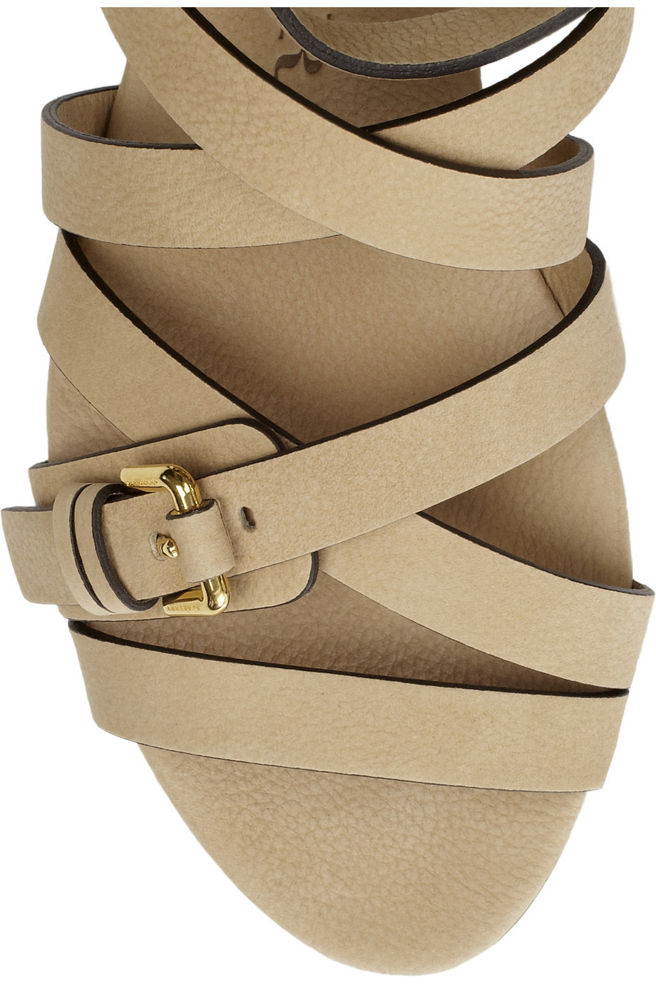 Burberry Flat Buckled Leather Sandals In Natural Lyst