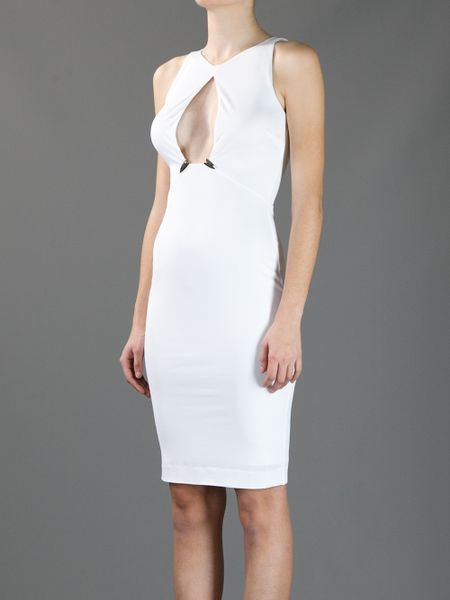 Dsquared 178 Open Chest Dress In White Black Lyst