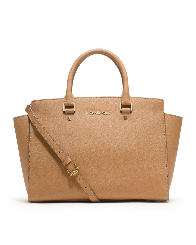 michael kors large selma topzip satchel in brown lyst. Black Bedroom Furniture Sets. Home Design Ideas