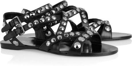 Miu Miu Studded Leather Sandals In Black Lyst