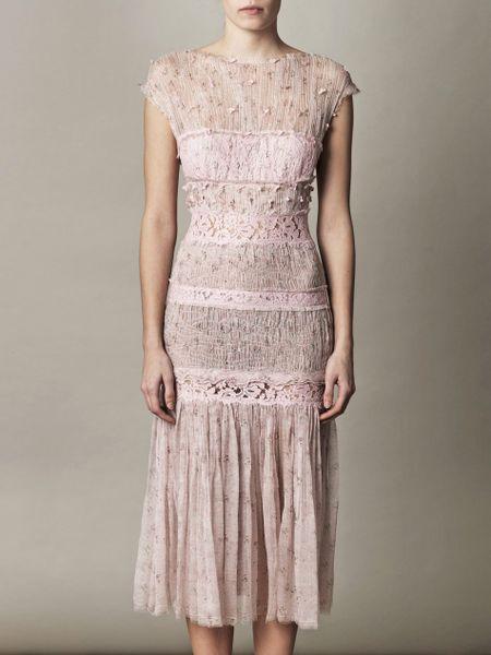 Nina Ricci Floralprinted Chiffon And Lace Dress In Pink
