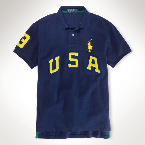 polo ralph customfit usa big pony polo in blue for