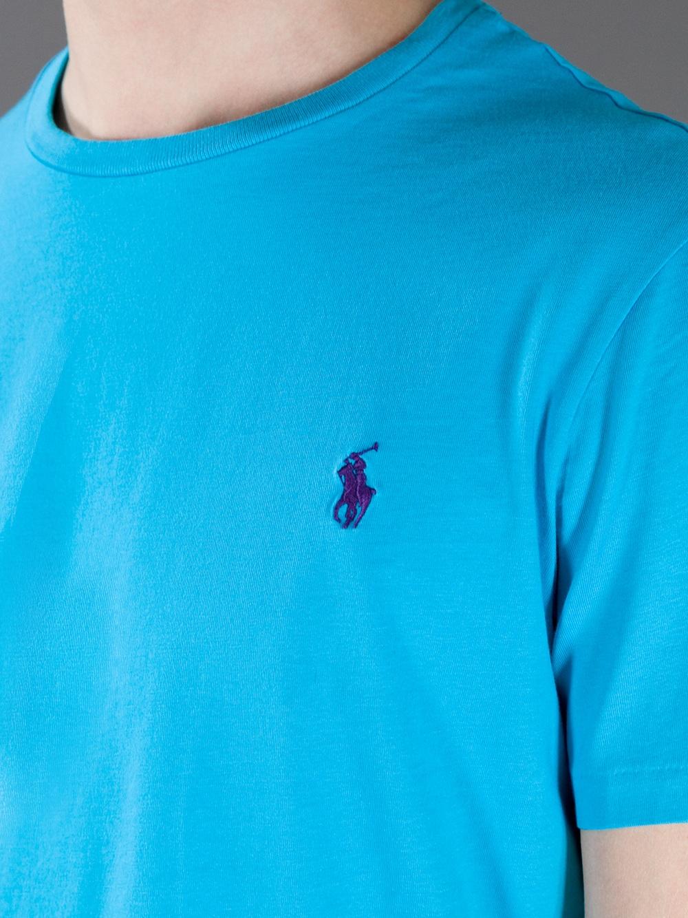 Polo ralph lauren classic t shirt in blue for men lyst for Aqua blue color t shirt