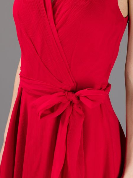 Ralph Lauren Blue Label Ruched Wrap Around Dress In Red Lyst