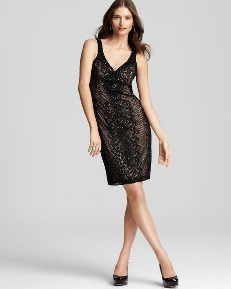 Sue Wong Beaded Strapless Dress In Black (black Nude)