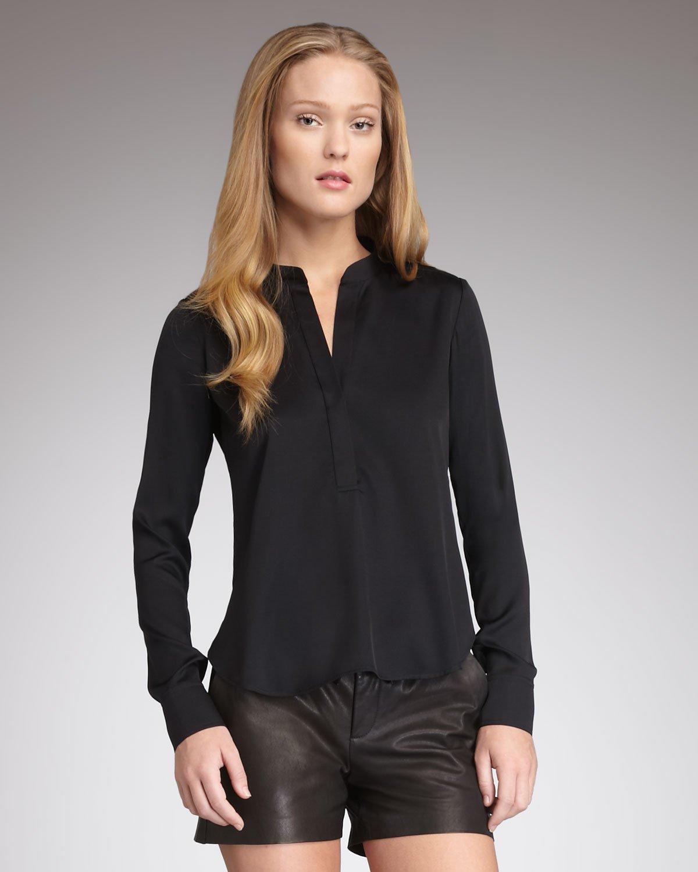 Vince Silk Blouse in Black | Lyst