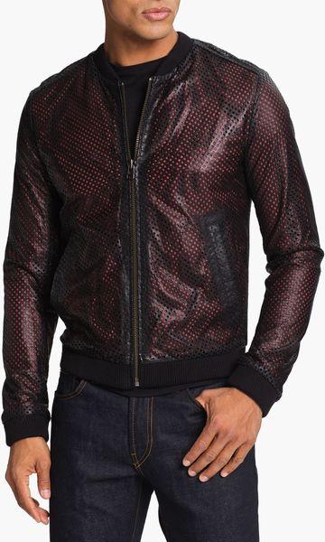 adidas slvr leather blouson jacket in for men end of color list silver black lyst. Black Bedroom Furniture Sets. Home Design Ideas
