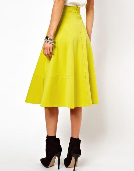 asos collection asos midi skirt in ponte in yellow