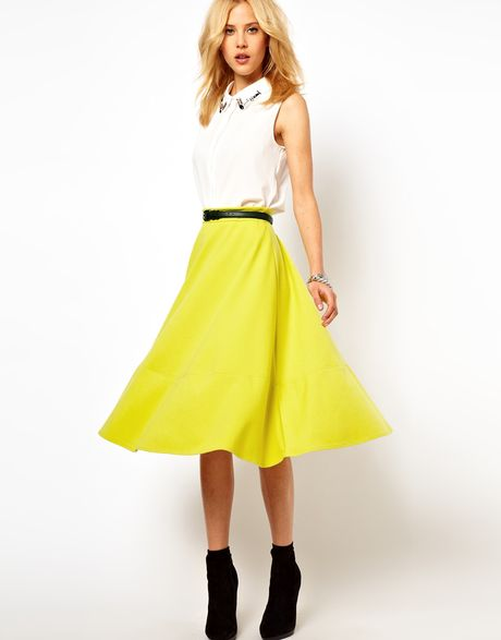 asos collection asos midi skirt in ponte in yellow
