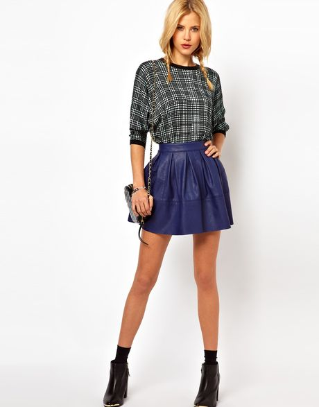 asos collection asos skater skirt in leather look in blue