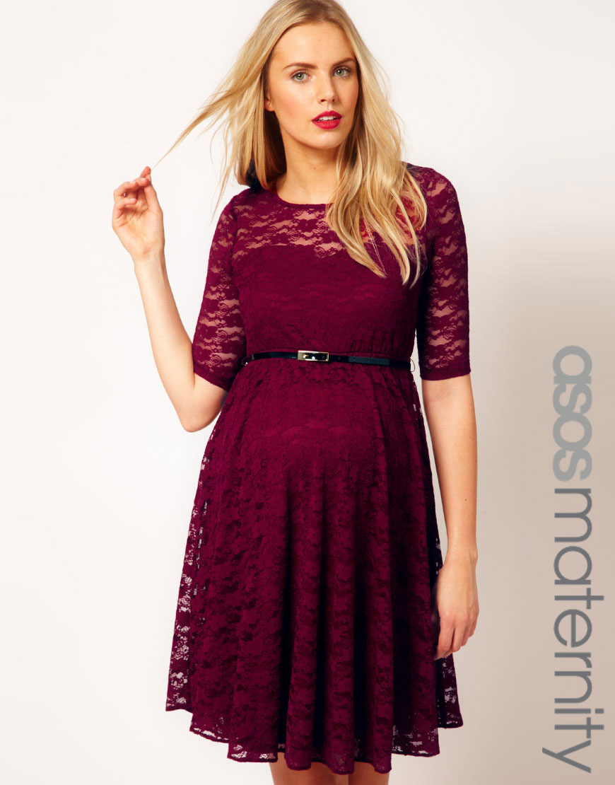 Lyst Asos Lace Skater Dress With Half Sleeve And Belt In