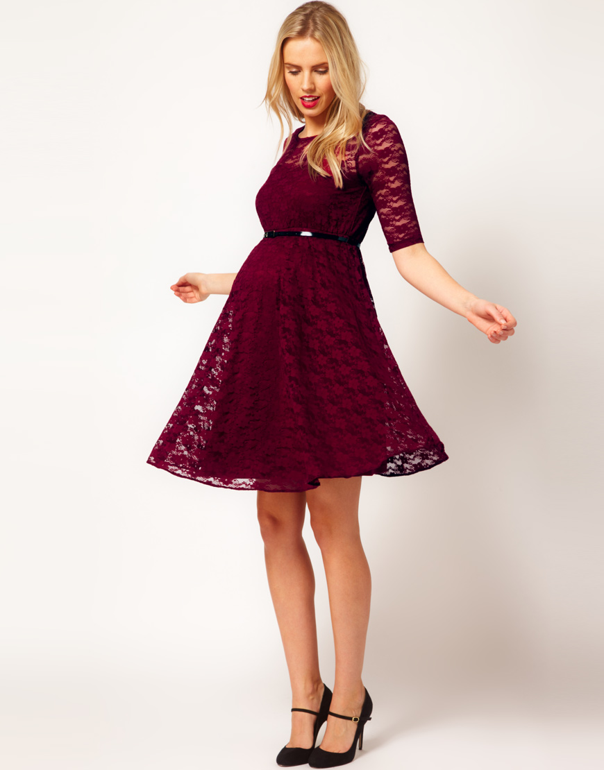 Asos Lace Skater Dress With Half Sleeve And Belt In
