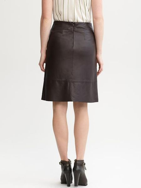 banana republic aline leather skirt in brown brown