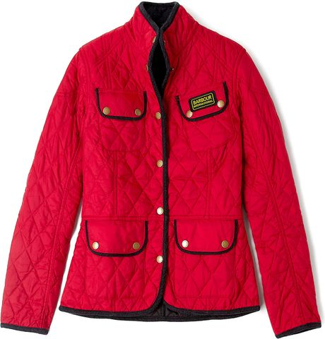 Barbour Red Summer Vintage International Quilted Jacket In