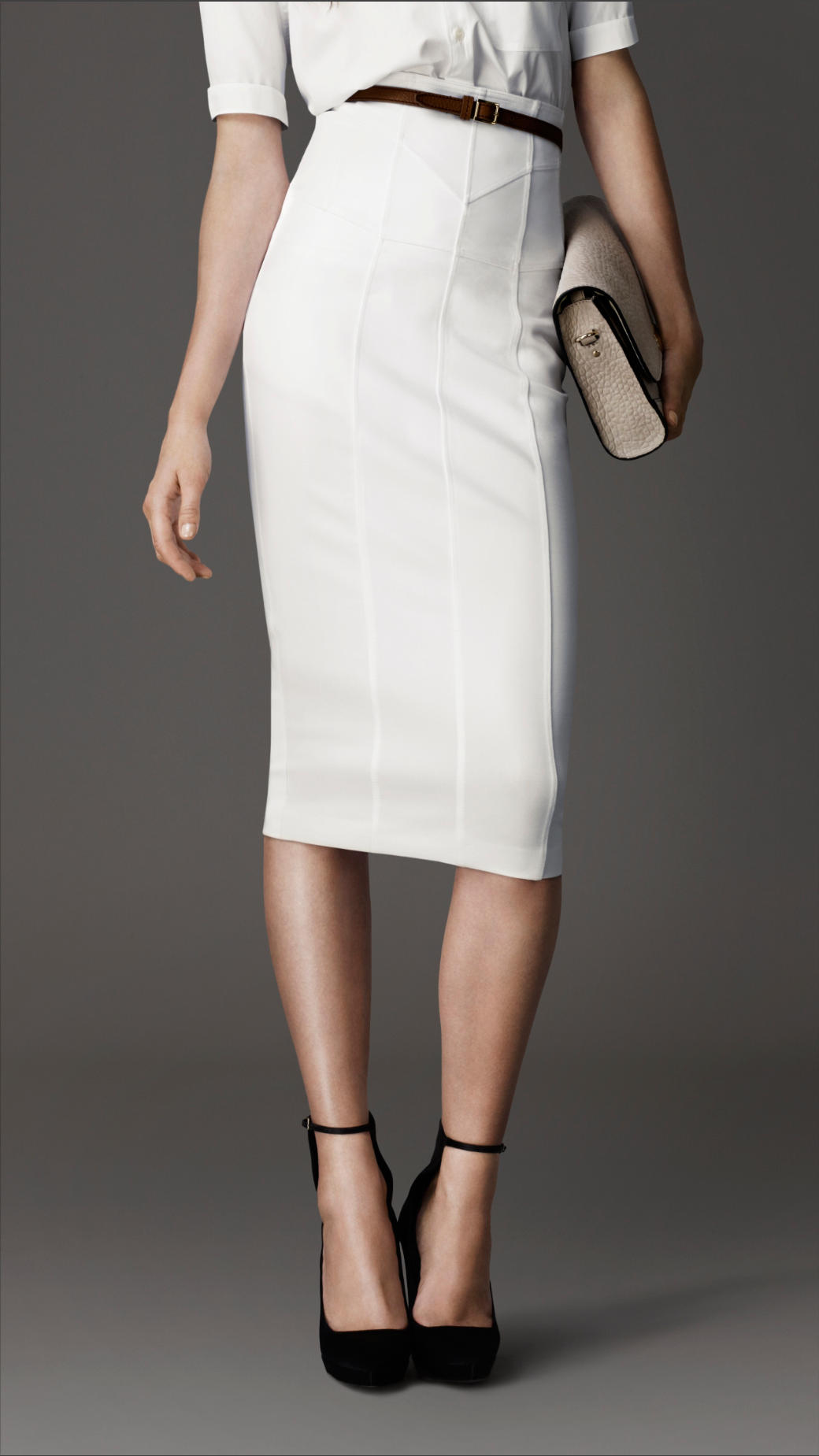 Burberry Corsetjersey Pencil Skirt in White | Lyst