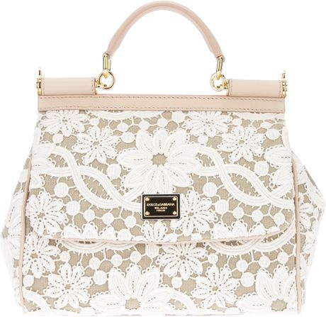Dolce & Gabbana Lace Print Tote in Beige (nude) - Lyst