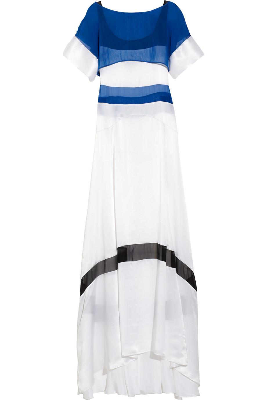 Lyst Just Cavalli Paneled Silk Maxi Dress In White