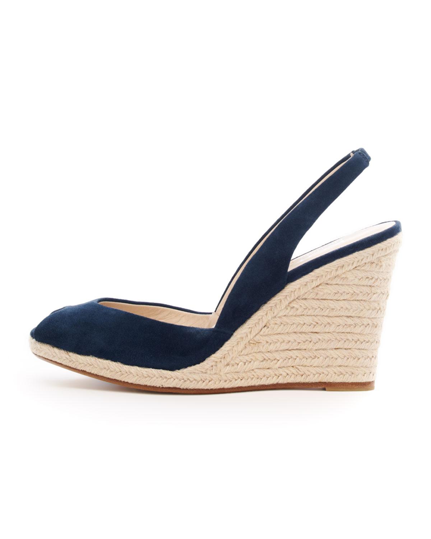 1c775b1d94b Lyst kors michael kors vivian slingback wedge sandal in blue jpg 1200x1500  Navy blue peep toe