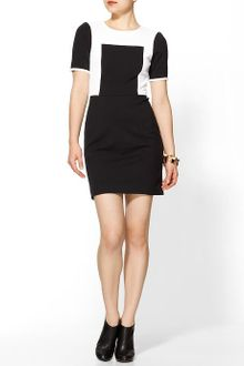 Tibi Dress on Tibi Color Block Dress Ponte Short Sleeve In Red   Lyst