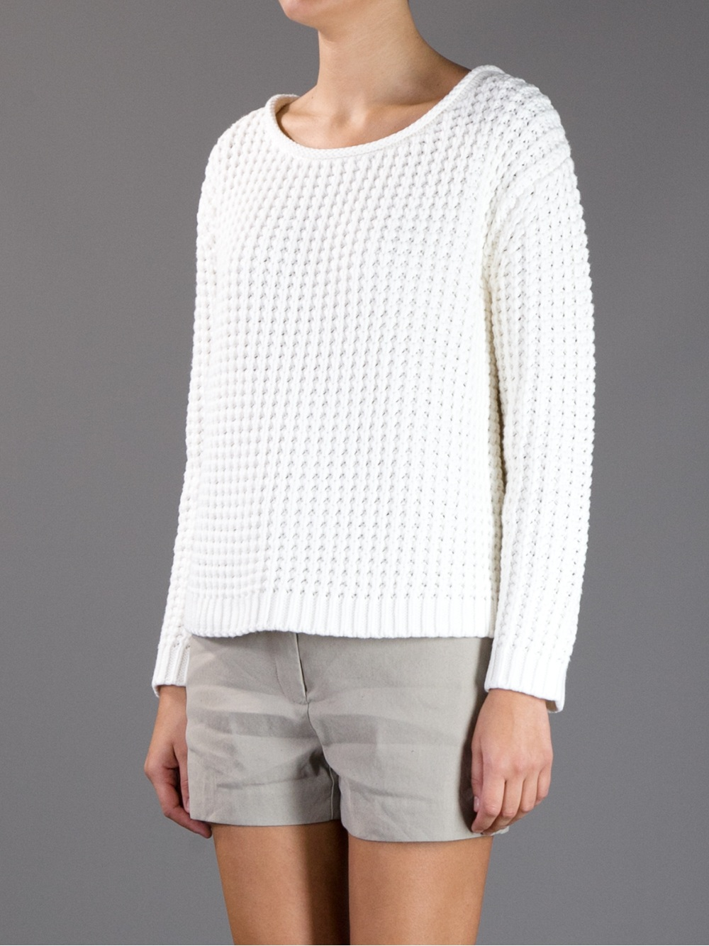 Acne Sapata Boxy Knit Sweater in White Lyst