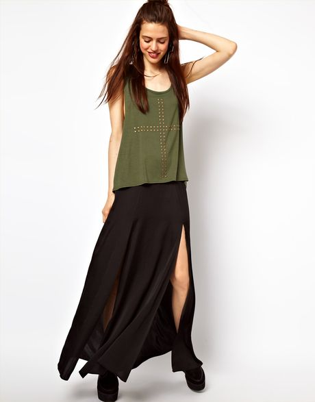 Asos Collection Asos Silky Maxi Skirt with Double Split in Black - Lyst