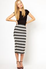 ASOS Collection Pencil Skirt in Diamond Jacquard