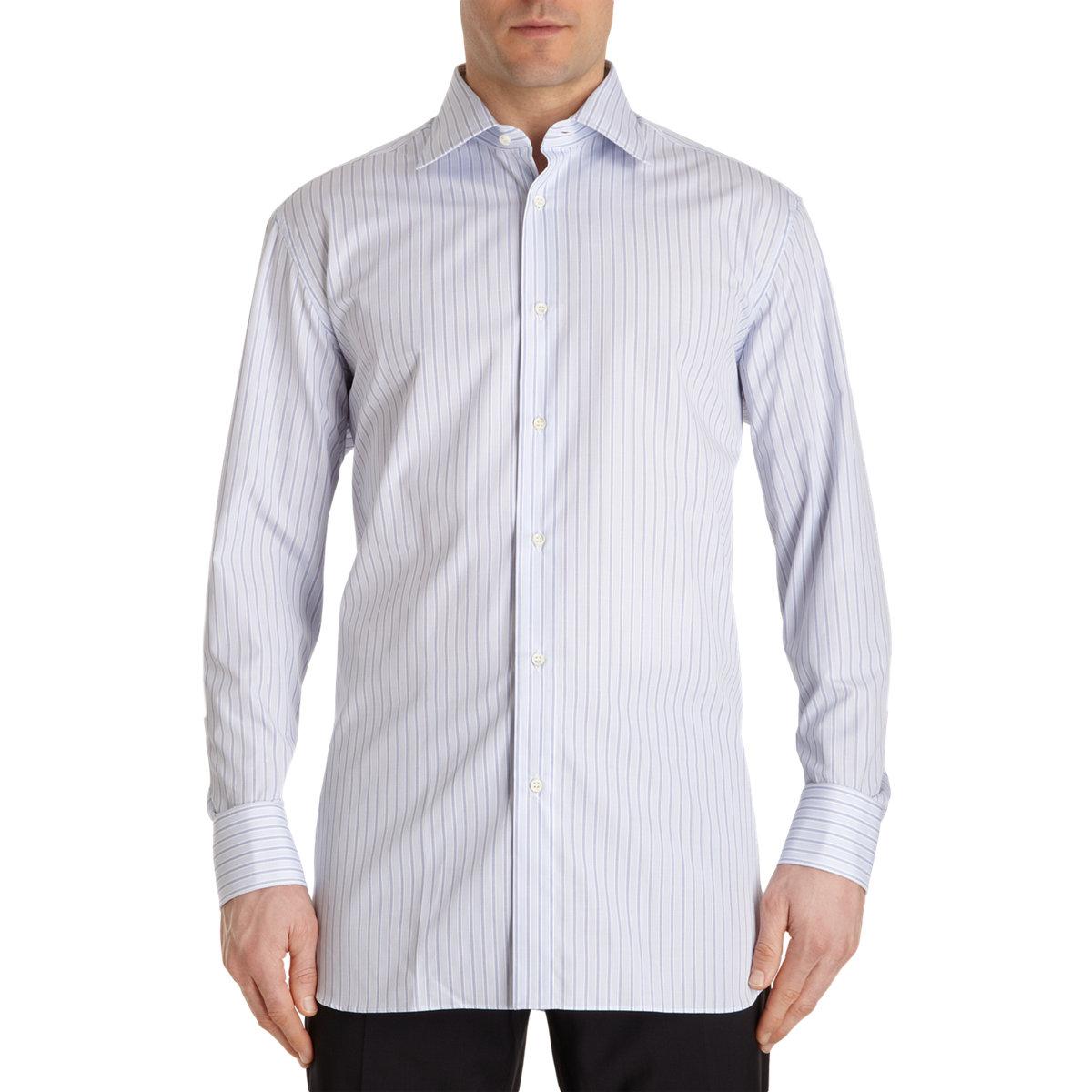 Lyst battistoni striped spread collar shirt in blue for men for What is a spread collar shirt