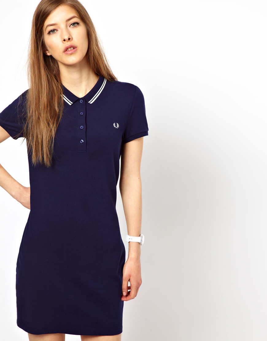 Fred perry twin tipped polo shirt dress in blue carbonblue lyst