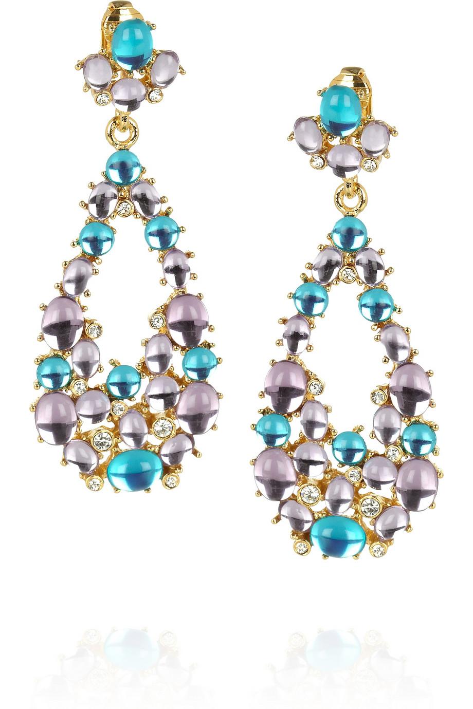 Kenneth Jay Lane Gold Crystal Nugget Clip Earrings Gold dyDH15Ljc
